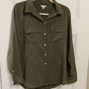 GAP army green button up blouse